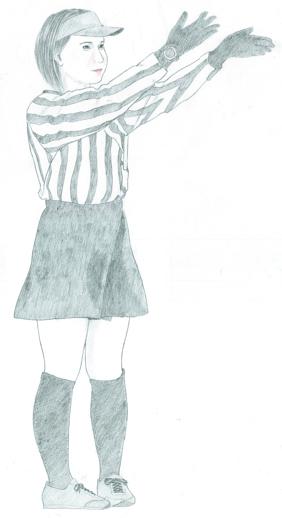 Full-length portrait of a woman referee raising both  arms
