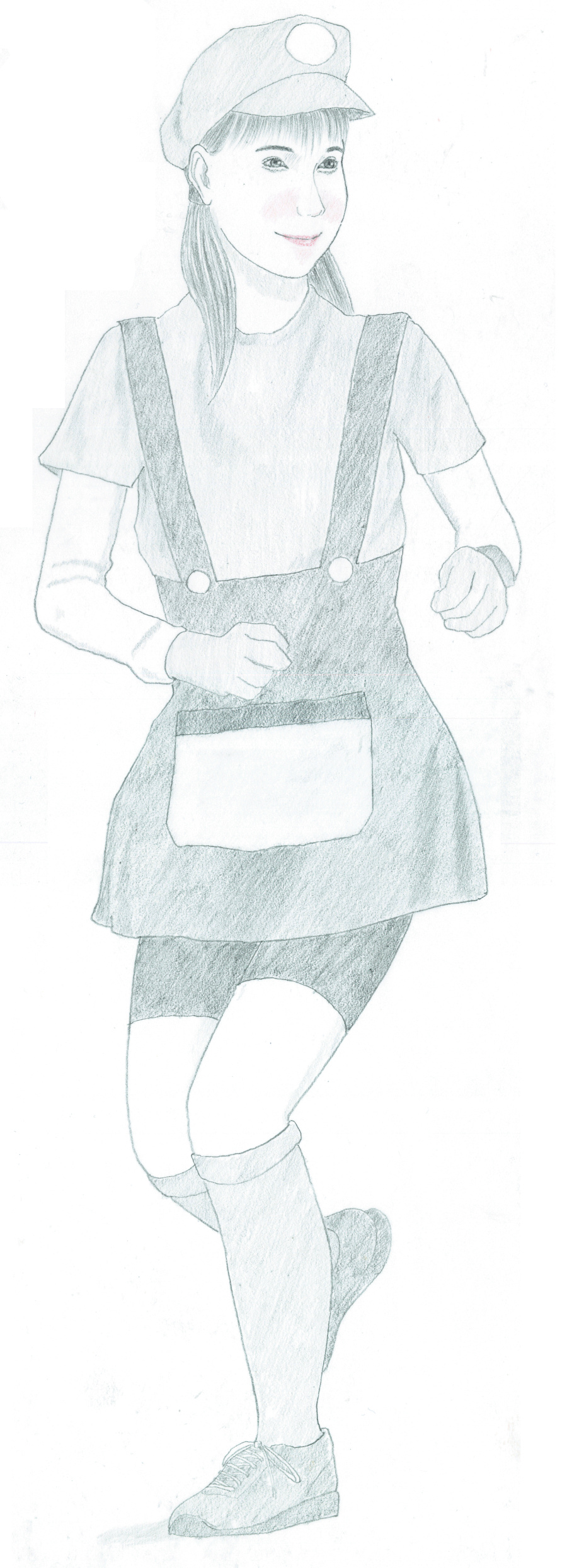 full-length portrait of a woman runner running marathon in a character costume